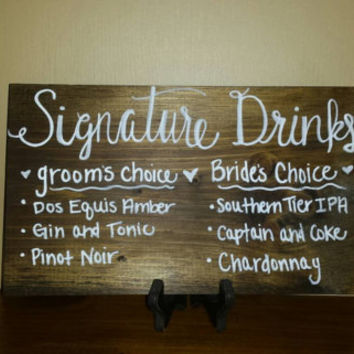 Customized Rustic Signature Groom and Bride Drink Sign