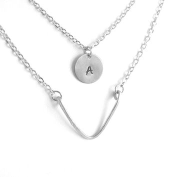 Layered Chevron Hand Stamped Personalized Initials Necklace