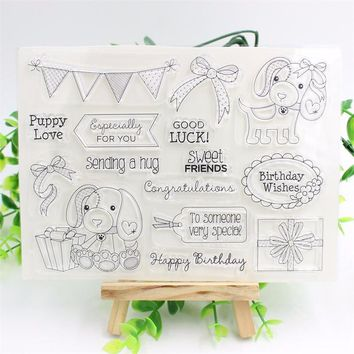 Lucky Dog Transparent Clear Silicone Stamp/Seal for DIY scrapbooking/photo album Decorative clear stamp sheets