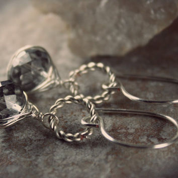 Circle Dangle Earrings - Crystal Herringbone Wrap - Grey Diamond Swarovski Crystals - Herringbone Wire Wrap