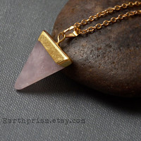 Rose Quartz Triangle Gemstone Pendant Necklace Gold Plated Chain Pink Stone Pyramid Quartz Crystal / Rose Quartz Necklace