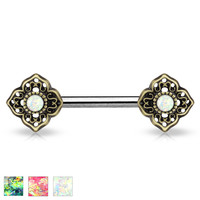Glitter Opal Tribal Green Flower Ends Single Silver Surgical Steel Nipple Barbells 14ga