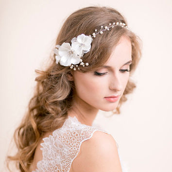 Wedding Hair Vine with Blossoms - Pearl Hair Vine - Bridal Hair Vine - Floral Hair Vine - Wedding Hair Accessories