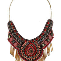 Gold Tube Beaded Bib Necklace