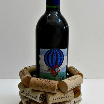 Wine Cork Bottle Holder, Wine Bottle Cozy, Wine Bottle Coaster, Wine Bottle Trivet - Wine Accessories Holiday Decor Entertaining Gift Idea
