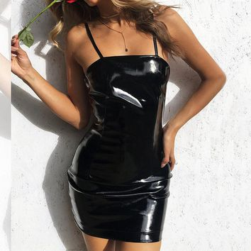 Selling Black Suspender Mini Slender Sexy Buttock Bright Leather Dresses