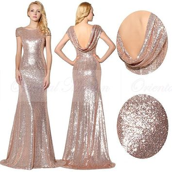 Sparkly Rose Gold Sequins Bridesmaid Dresses 2017 Scoop Neck Short Sleeves  Bride Maid Of Honor Dress 096f117605a9
