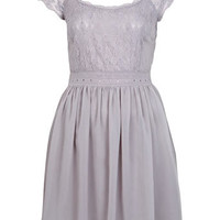 Grey Lace Bodice Dress - Dresses  - Apparel