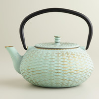 Aqua Cast Iron Basket Weave Teapot - World Market