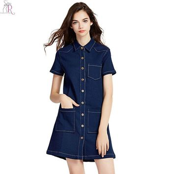 Dark Blue Denim Mini Shift Dress Short Sleeve Single Breasted Pocket Cut Out Back Loose Casual Streetwear Women