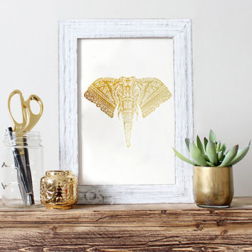 Ornament Elephant Print, Real Gold Foil Print, Gold Ornament Print, Gold Elephant Print, Ornament Decor, Bedroom Print, Minimalist Poster,