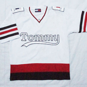 90s vintage tommy hilfiger athletics hockey jersey sz  L mens