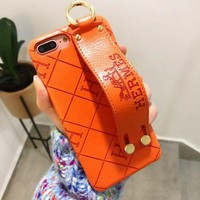 Hermes Tide brand wrist strap embossed iPhone7plus mobile phone case cover