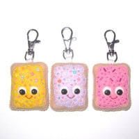 Cute Pop Tart Keyring - Fairy Kei Bag Charm - Kawaii Key Chain - Toaster Pastry Charm - Kawaii Plush - Stocking Stuffer