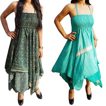 Evelyn Womens Beach Dress Recycled Vintage Sari Gypsy Halter Dresses Lot Of 2: Amazon.ca: Clothing & Accessories