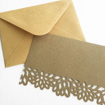 Blank Note Card. Handmade Thank You Card. Flower die cut note cards. Kraft thank you card. Kraft envelope. Bridesmaids gift Appreciation gif