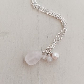Infertility, IUI, IVF, TTC, Fertility Stone, Necklace, Pearl, Tear Drop Rose Quartz, Moonstone, Amethyst