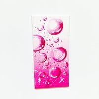 Affordable Art Pink Sparkling Bubbles on Miniature Canvas Acrylic Painting Magnet