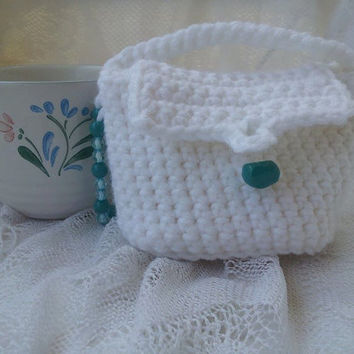 Small White Purse, Mini Me Purse or Gift Bag, White Crocheted Purse, Gift Idea