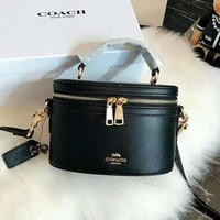 Coach High Quality New Fashionable Women Leather Handbag Tote Shoulder Bag Cosmetic Bag Crossbody Satchel Black