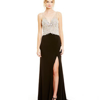 Coya Collection V-Neck Sleeveless Beaded Gown | Dillards