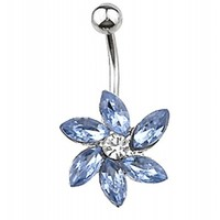 BLUE GEM LOTUS FLOWER BELLY BUTTON RING