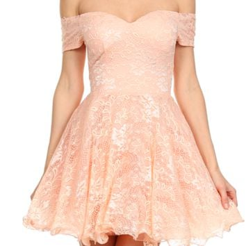 off shoulder sweetheart fit and flare lace mini dress