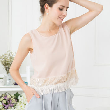 Sequin Top with Tassel Trim