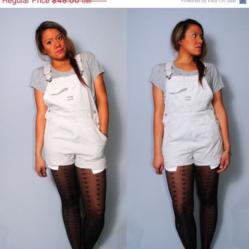 SALE Vintage 1990s cream white colored overalls shortalls JUMPER over all shorts HIPSTER Grunge