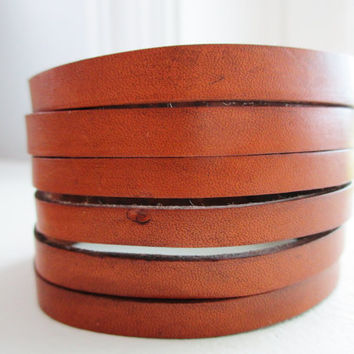 Sliced Rich Brown Leather Cuff - Heavy Duty Nickel Snap Closure