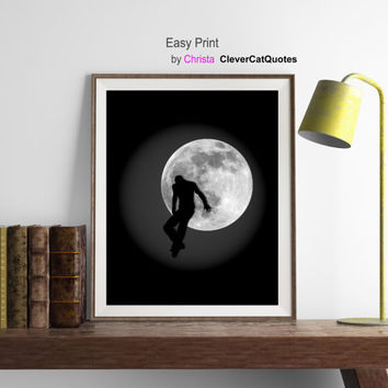 Moon print, Men silhouette, Moon printable, Moon digital, Full moon, Fantasy art, Space,  Moon wall decor, Instant download, Moon art