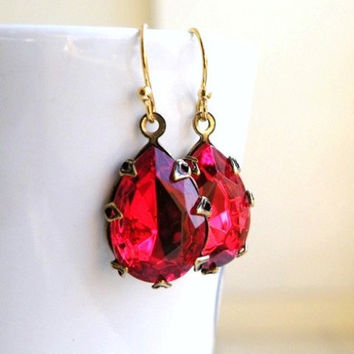 Bridal Earrings Rich Garnet Maroon Red Foiled Pear Teardrop Stone Rhinestone Gold Dangle Earrings - Bella EGoldV2 Wedding Jewelry