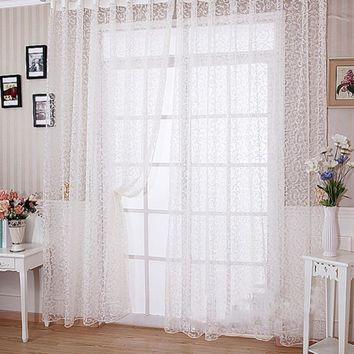Sheer Curtain Panel Room Vogue Flocking Floral Tulle Curtain Voile Home Decoration Door Window Curtain for Living Room cortinas