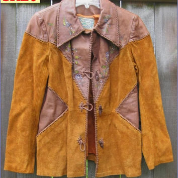 Vintage 70s Char Leather Suede Jacket Caramel Brown Painted Florals sz S