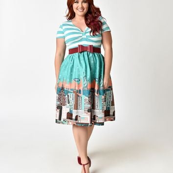 Plus Size Retro Style Mint Stripe New York Horizon Cotton Swing Dress