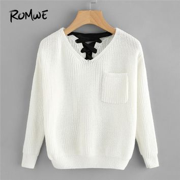 ROMWE White Pocket V Neck Lace Up Back Texture Knit Sweater Women Casual Autumn Winter Plain Long Sleeve Clothes Spring Pullover