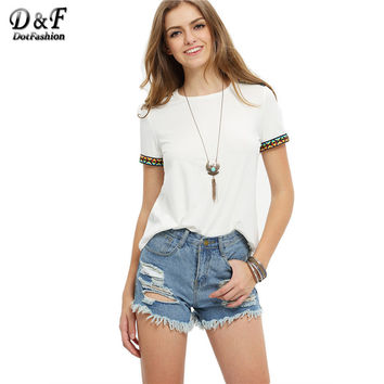 Female Loose Tees Summer Style Casual Beige Short Sleeve Round Neck Embroidered Vintage T-shirt