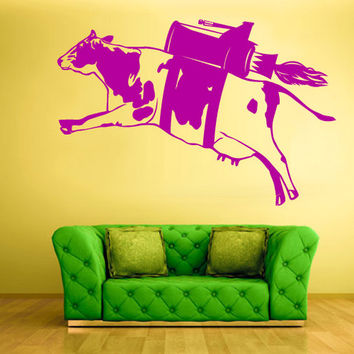 rvz588 Wall Vinyl Sticker Bedroom Modern Decal Cow Milk Funny Rocket Turbo Fly