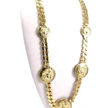 "NEW GOLD 5 MEDALLION MEDUSA GREEK CUBAN LINK CHAIN PENDANT 33"" NECKLACE KMC001G"