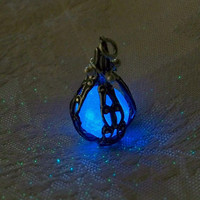 Mermaid's Magic Midnight Blue Caged Pendant with by Clover13