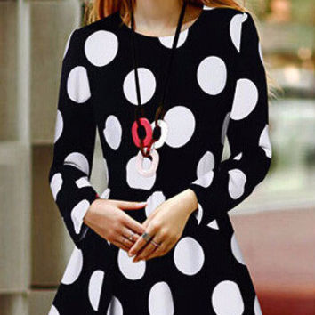 Black Polka Dot High Waist Long Sleeve Pleated Mini Dress