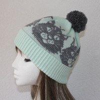 Mint Green Pompom Beanie Hat with Grey Cats Head Design