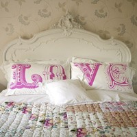 Bedroom / LOVE pillows.. cheesy yet