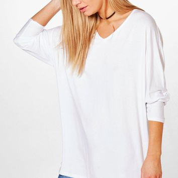 Jasmin Long Sleeve Oversized T-Shirt | Boohoo