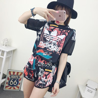 """""""Adidas"""" Fashion Casual Multicolor Clover Letter Print Stitching Gauze Short Sleeve Set Two-Piece Sportswear"""
