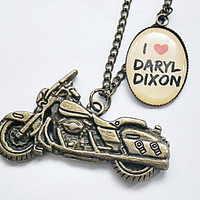 I heart Daryl Dixon of Walking Dead photo resin with motorcycle chram pendant necklace