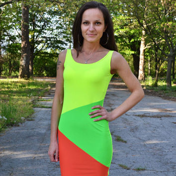 Neon Sexy Tight Dress Neon Colors Neon Dresses Sexy Dresses Dance Dresses Summer Dress Bright Dress Mini Neon Dress
