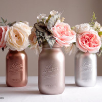 Gift for Her Mom Mother's Day Home Decor Vase Metallic Mason Jar Rose Gold Decor Copper Silver Centerpiece