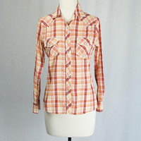 Vintage 1970s Western Shirt Orange Plaid Long Sleeve