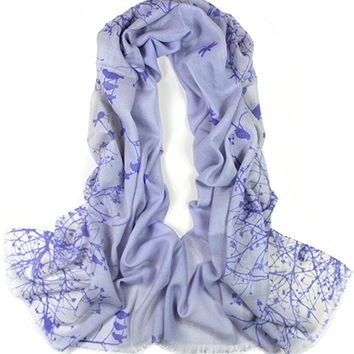 Dahlia Women's 100% Merino Wool Pashmina Scarf - Flying Bird Tree Branch